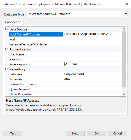 Database Connection Azure