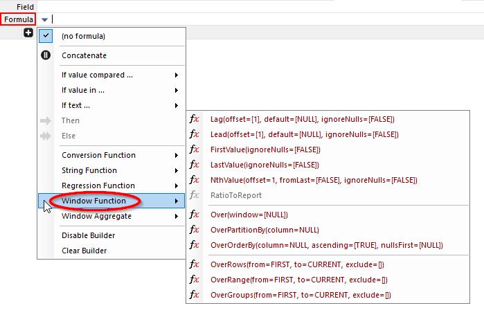 Window Functions Menu Contextual